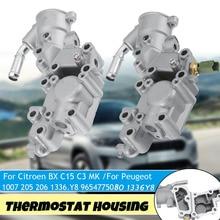 อลูมิเนียมThermostat Housing Coolantน้ำหน้าแปลน9654775080 1336Y8สำหรับCitroen BX 14 C15 C2 C3 MKสำหรับPeugeot 1007 205 206 309