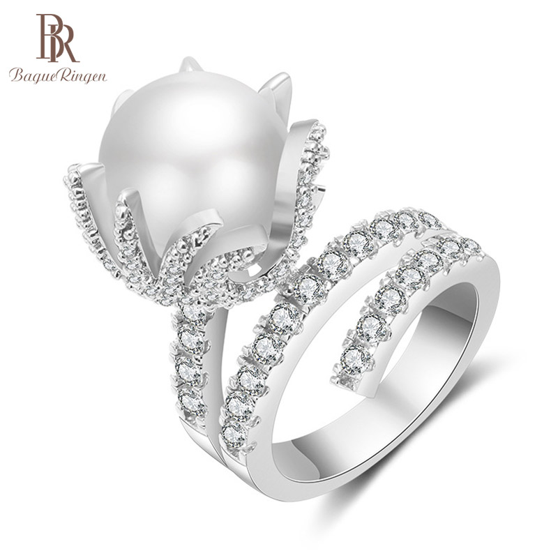 Bague Ringen Trendy Pearl Ring For Women Opening Adjustable Silver 925 Jewelry Flower Shaped AAA Zircon Elegant Wedding Party