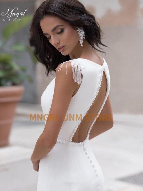 MNGRL White Simple Retro Wedding Dress O-neck Sleeveless Shoulder fringe Wedding Gown Backless Chiffon Custom Made Plus Size 2