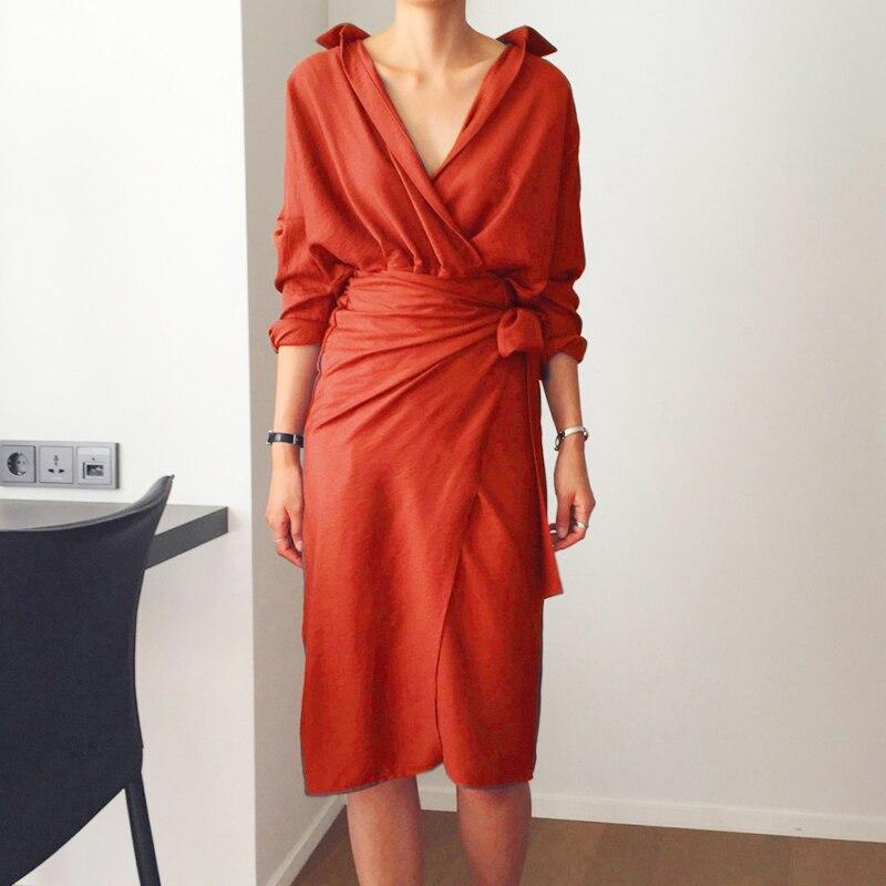 TWOTWINSTYLE Belt Dress Female V Neck High Waist Patchwork Split Midi Dresses For Women Spring Fashion Korean Clothing 2019