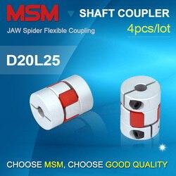 4pcs MSM Shaft Coupling D20L25 Flexible Rubber Jaw Motor Coupler 4mm 5mm 6mm 8mm 10mm Aluminium 3d Printer Couples CNC kits