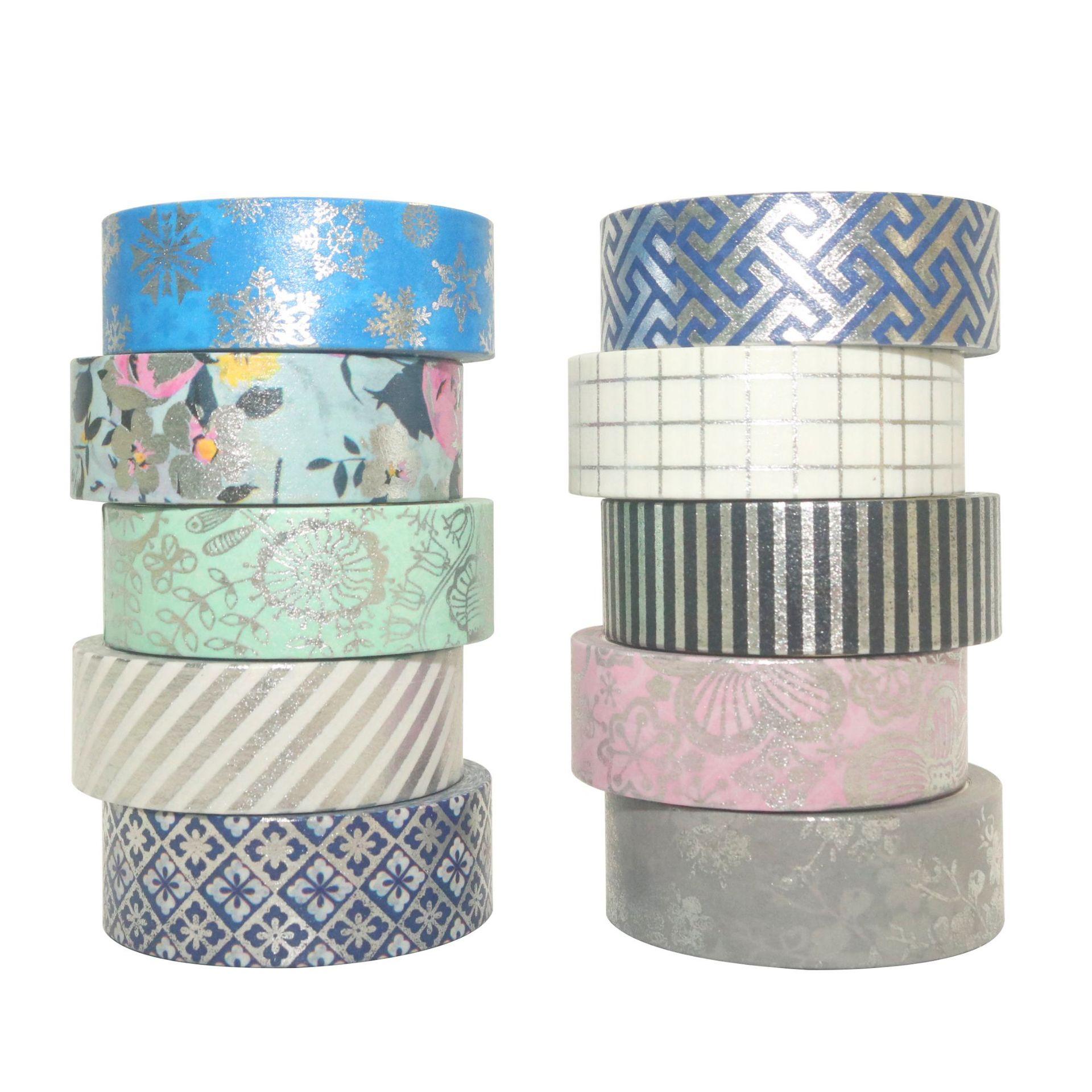 10Rolls/Set Silver Foil Washi Tape Set Paper Festival DIY Scrapbooking Adhesive Masking Tape Decorative Sticky Washi Tape Gift