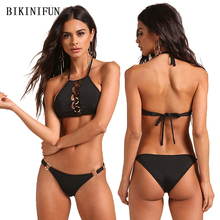 New Sexy Metal Ring Bikini Women Swimsuit Hollow Bathing Suit Solid Color Swimwear S-L Backless Halter 2 Piece Micro Bikini Set цены