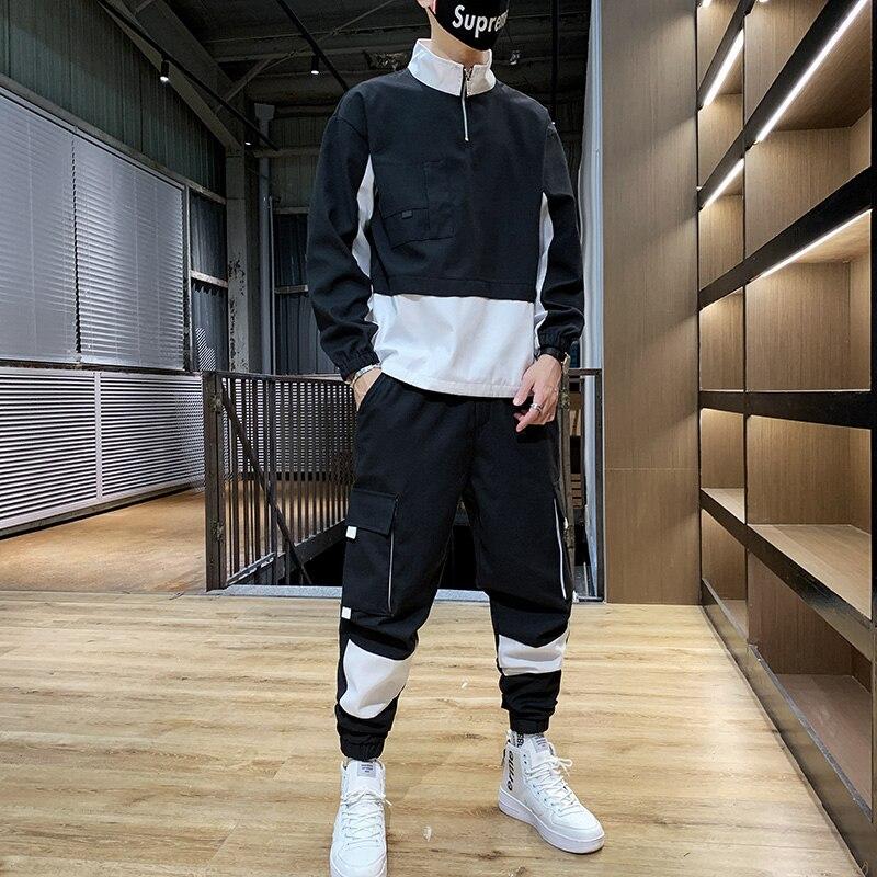 Men Causal Splicing Contrast Sets Camo Jacket+Pants 2Pc Tracksuit Sportwear Hoodies Sweatshirt &Pant Suit Trainingspak Heren