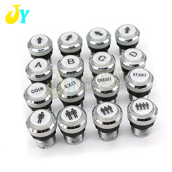 1PCS CHROME Plated illuminated arcade push button 5V 12v LED Arcade Start Push Button with micro switch 1P 2P START CREDIT PAUSE image