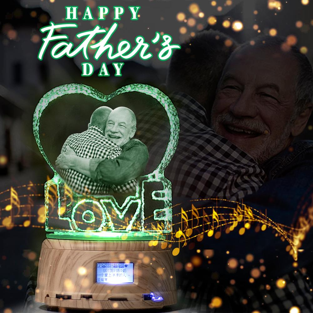 Father's Day Custom Crystal Photo Text RGB LED Night Light MP4 Bluetooth Music Base Rotating Display Stand Couple Wedding Gift