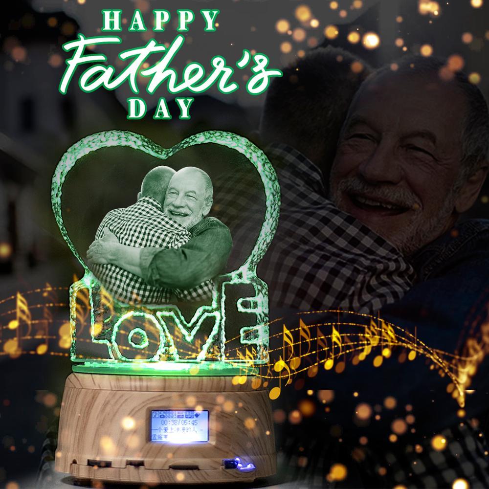 Father's Day Custom Crystal Photo Text RGB LED Night Light MP4 Bluetooth Music Base Rotating Display Stand Couple Wedding Gift