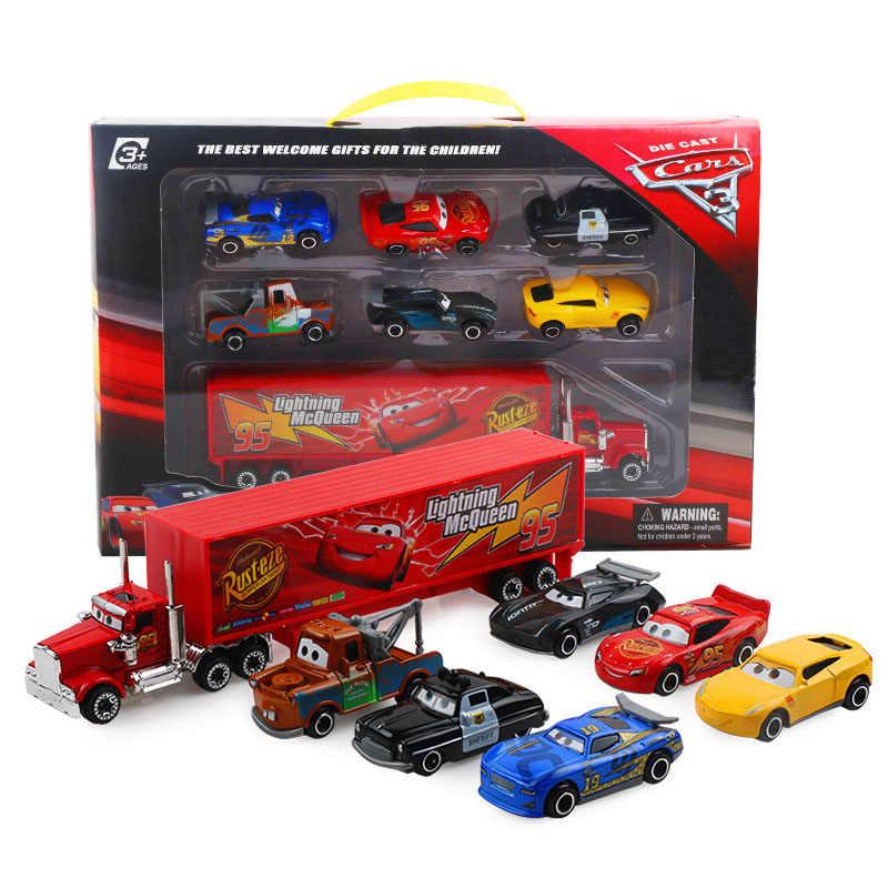 7 Stks/set Disney Pixar Auto 3 Lightning Mcqueen Jackson Storm Mack Oom Truck 1:55 Diecast Metal Car Model Toy Boy kerstcadeau