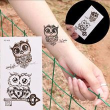 Arte falsa do corpo da tatuagem da coruja da etiqueta provisória impermeável