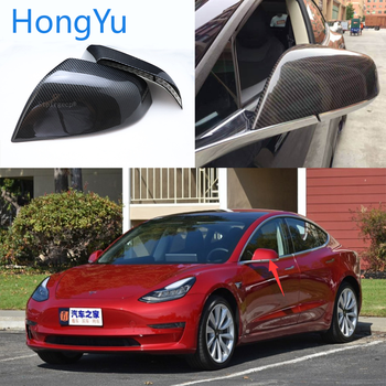 For Tesla model3 Model 3 2016 2017 2018 2019 Carbon Fiber Rear View Mirror Cover Add on With double sided tape