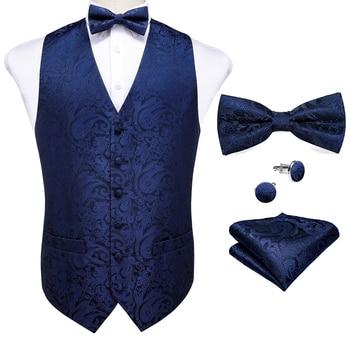 New Teal Green Paisley 100% Silk Formal Dress Vest Men Waistcoat Vest Wedding Party Vest Tie Brooch Pocket Square Set DiBanGu 10