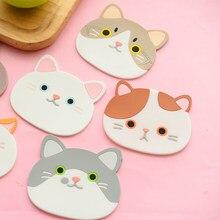 Dayanıklı masa ped silikon yalıtım Placemat fincan kase Mat ev dekor kedi desen Coaster