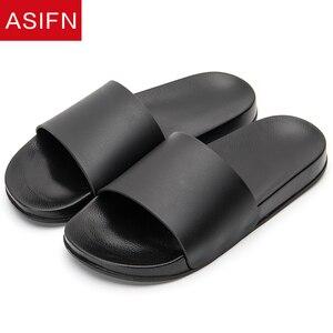 Image 2 - ASIFN Summer Home Men Slippers Simple Black White Non slip Bathroom Slides Flip Flops Indoor Women Platform Shoes Beach Slippers