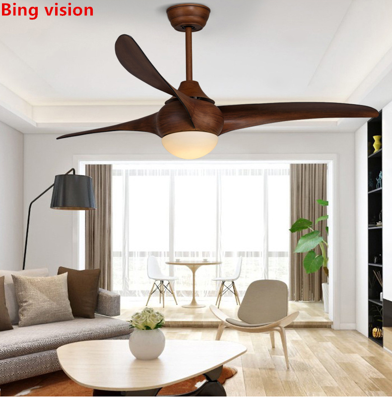 Nordic Brown Vintage Ceiling Fan With Lights Remote Dimming  Control Ventilador De  Techo Fan LED Light Bedroom Ceiling Fans