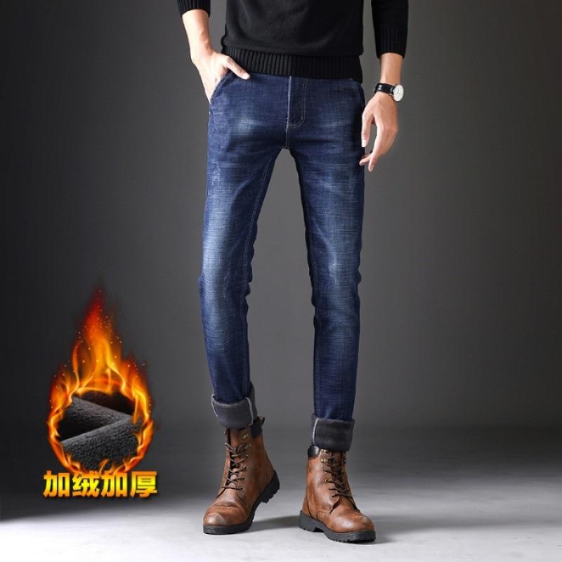 New Style Plus Velvet Autumn And Winter Main Push-Small Push Burst Plus Velvet Jeans Men Slim Fit Pants