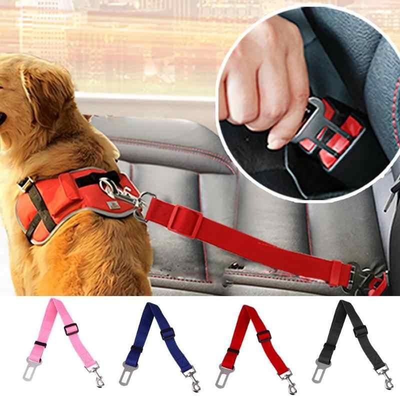 43-70cm Adjustable Dog Safety Seat Belt 2019 Car Safe Belts Restrict Rope Seat Belt Nylon Solid Auto Traction Pet Dog Supplies