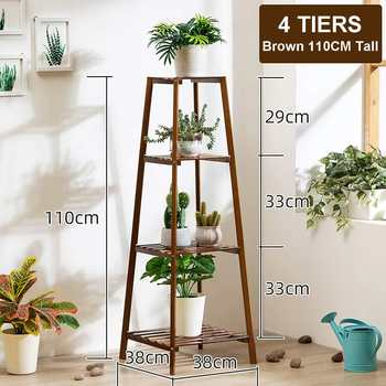 4 Layers Simplicity Wood Stand For Plants Landing Type Light Extravagant Multi-storey Shelf Indoor Flowerpot Frame Flower Stand 7