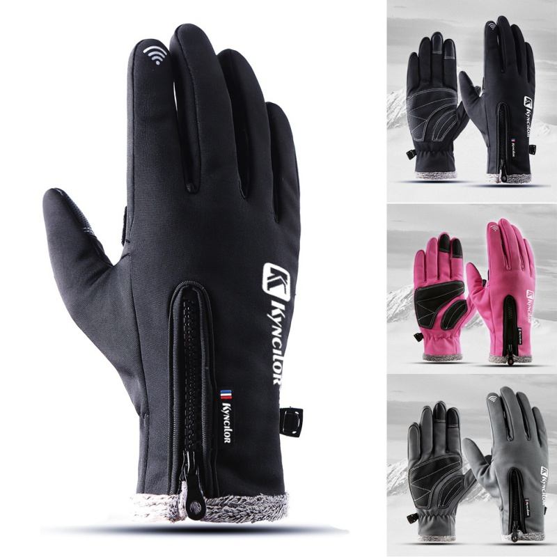 UnisexTouch Screen Ski Cycling Gloves Winter Cold Waterproof Thick Warm Zippered Adjustable Full Finger Glove Running Motor Bike