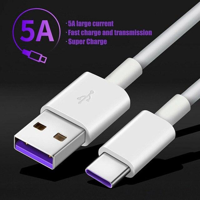 Cavo di ricarica rapida 5A USB tipo C per Samsung S20 S9 S8 Xiaomi Huawei P30 Pro cavo di ricarica per telefono cellulare cavo Blcak bianco 2