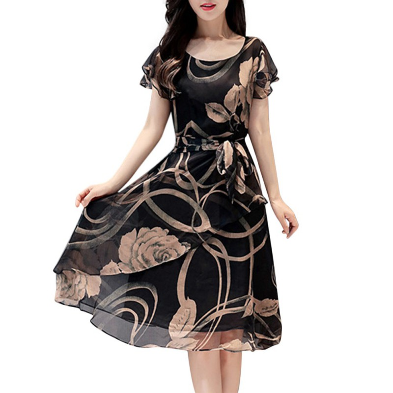 Summer Women Dress  Floral Print Slim Dresses Casual O-neck Chiffon Plus Size Elegant Vestidos