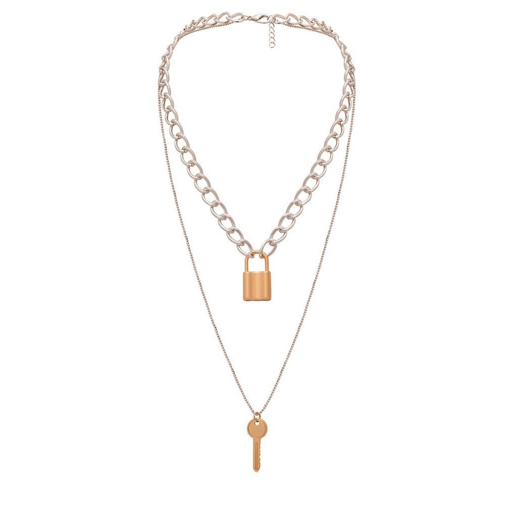 Vintage Metal Gold Multi-layer Lock Love Necklace Ladies Jewelry Gift Pendant Gift Ethnic Bohemian Choker #4N25