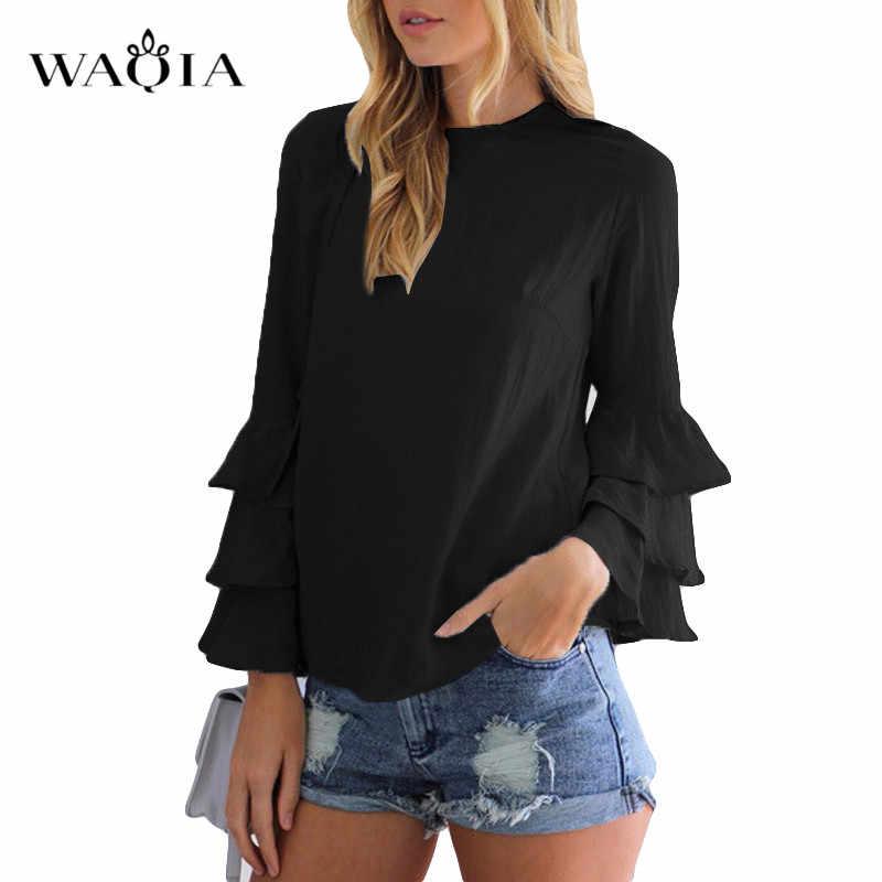 Grande taille 5XL haut pour femme et Blouse femmes élégantes chemises en mousseline de soie printemps automne à manches longues col rond Blouses à volants décontracté