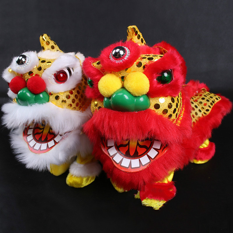 Electric Singing Dancing Lion Plush Toy Chinese Festival Children Toy Red