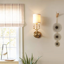 купить Modern Antlers Copper LED Wall Lights Lighting Fabric Lampshade Bedroom Bedside Sconce Lamp Decor Corridor Led Indoor Wall Lamp по цене 5051.58 рублей