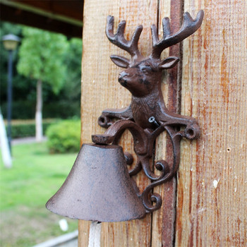 Cast Iron Deer Stag Head Doorbell Door Bell Brown Wall Mount Animal Decoration for Farmhouse Farm Outside Outdoor Dinner Bell