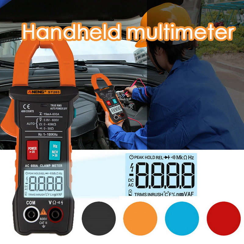 <font><b>ST203</b></font> Handheld Multimeter Digital Clamp Meter With AC/DC Voltage Current Resistance Frequency Detection Support NCV Function image