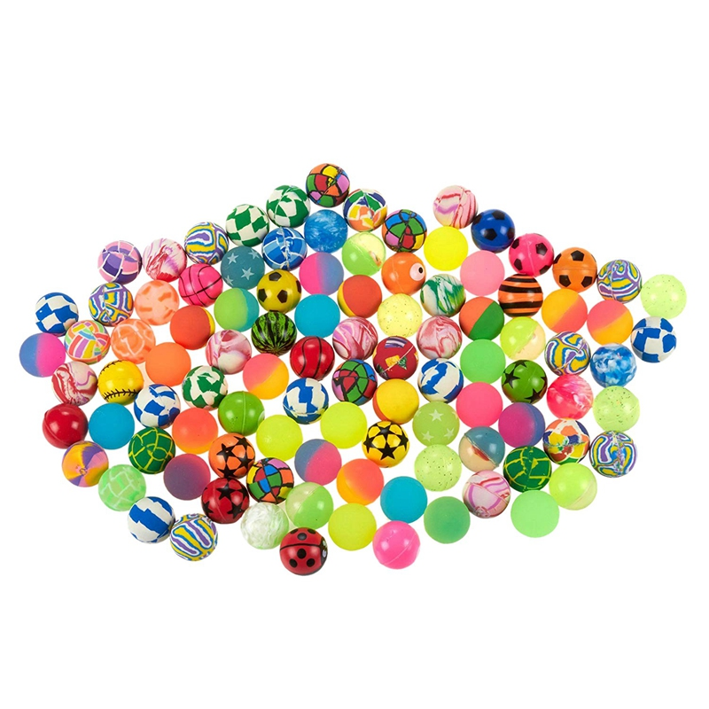 Hot-100Pcs Kids Magic Bouncy Jumping Floating Bouncing Balls Rubber For Children Summer Water Pools Toys