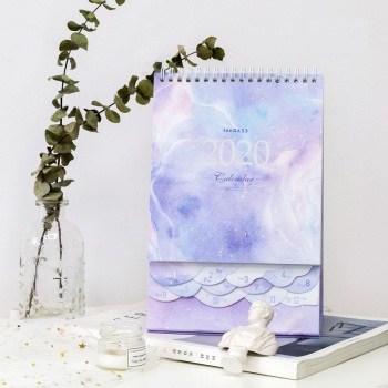 2020 Dreamy Watercolor Series Desktop Calendar DIY Note Memo Coil Calendars Daily Schedule Planner 2019.10-2020.12 1