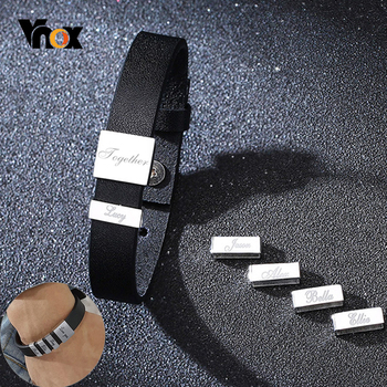 Vnox Personalized Names Bracelets Black Leather Men's Bangle Unique Meaningful Family To Dad Husband Gift Gents Jewelry vnox customize name quotes leather bracelets for men glossy stainless steel layered braided bangle personalized dad husband gift