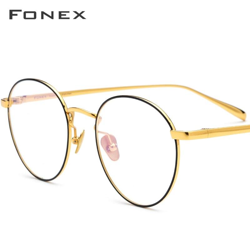 FONEX lunettes de Prescription en titane pur hommes Vintage ronde myopie optique lunettes cadre femmes femme rétro ovale lunettes 893