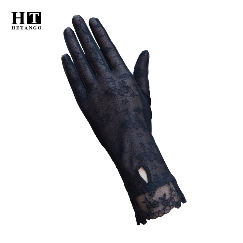 New Ladies Sunscreen Gloves Summer Fashion Lace Anti-ultraviolet Driving Outdoor Non-slip Breathable Elastic Thin Gloves Women