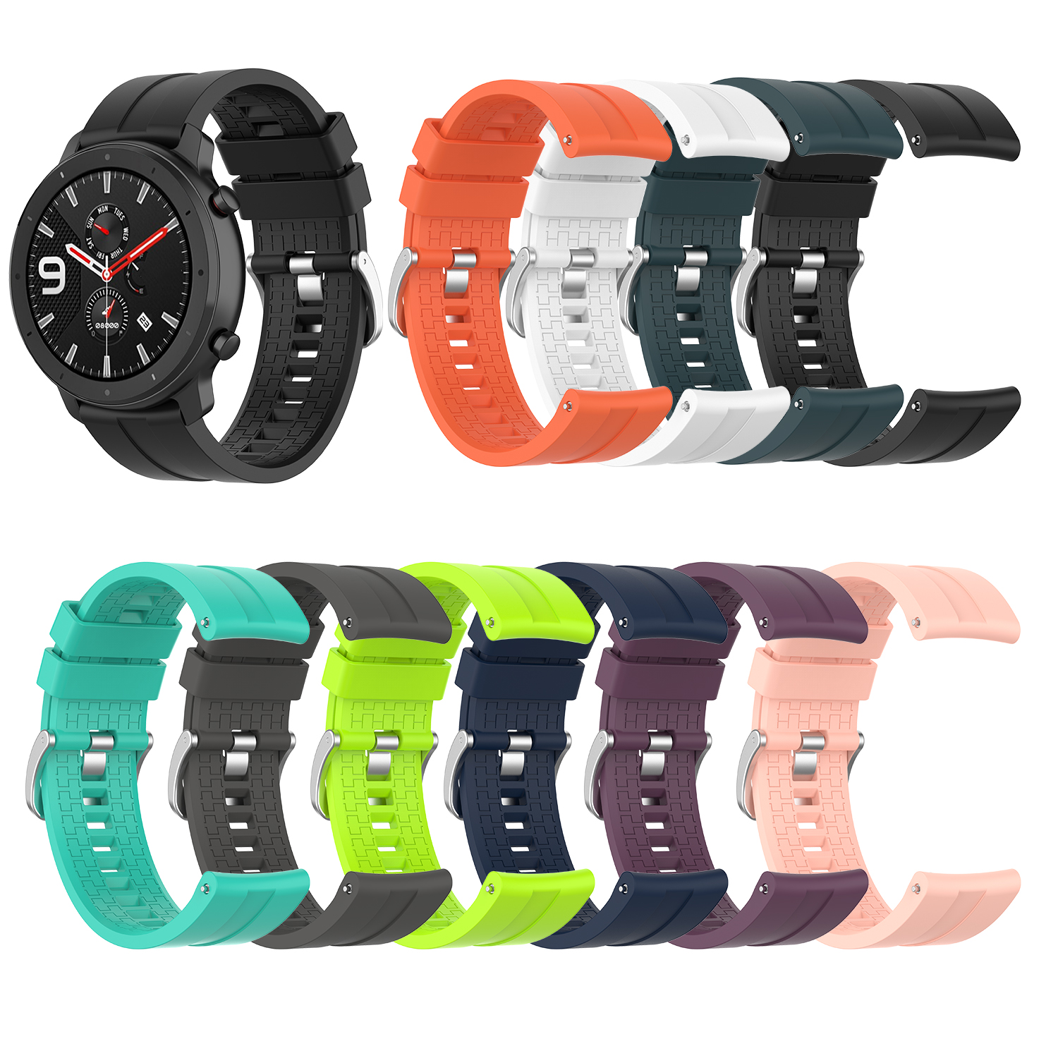 New For Huami Amazfit GTR 47mm For Samsung Strap Watch Steel Buckle Silicone Strap 22mm Width Smart Watch Wristband Accessories