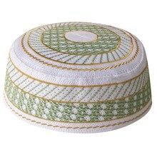 Boutique Thêu Cầu Nguyện Nón Xanh Nón Nam Ả Rập Hồi Giáo Tròn Mũ Phụ Kiện Băng Đô Cài Tóc Turban Gọng Bonnet Mũ Người Lớn Đan Nón