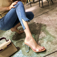 One- Character Sandals Transparent 2020 Crystal with High Heels Sexy Outside Thick Women Thin ( 5cm-8cm )