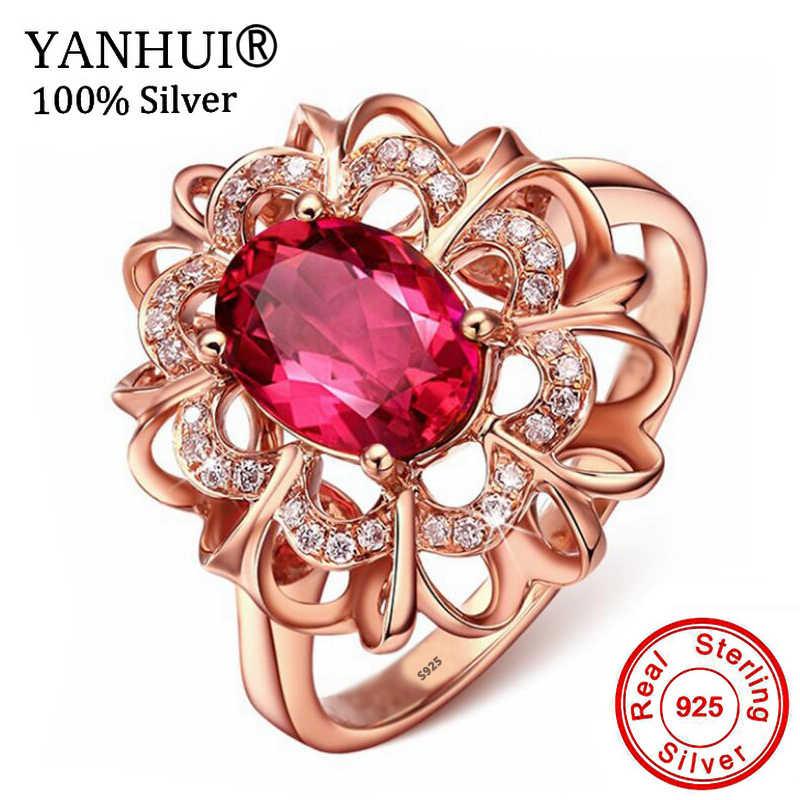 Yanhui Xác Thực 100% Nguyên Khối 925 Hoa Hồng Bạc Vàng Nhẫn Hoa Đỏ Trong Suốt CZ Pha Lê Ngón Tay Cho Nữ, Nhẫn Nữ Cưới Trang Sức ZR196