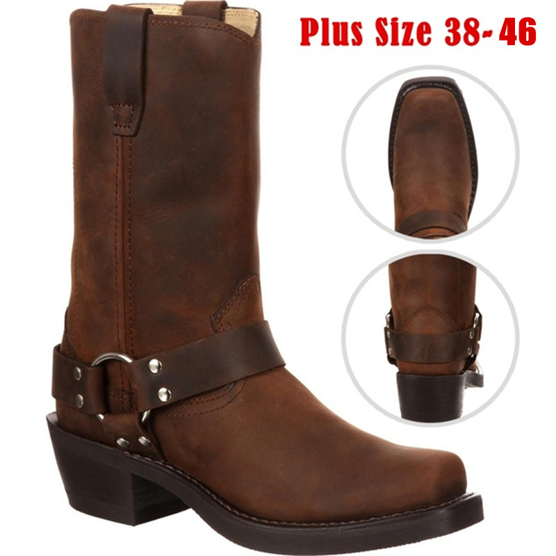 Woman Knee High Boots Combat Vintage Leather Boots Rider Horse Boot (8)