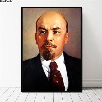 Líder de la Gran Revolución de Octubre, pinturas en póster de Lenin sobre lienzo, imágenes decorativas de pared de Arte Moderno, decoración del hogar