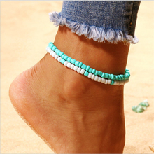 Simple temperament ladies beads anklet retro bohemian double green white beach ankle chain jewelry gift 2019 new hot