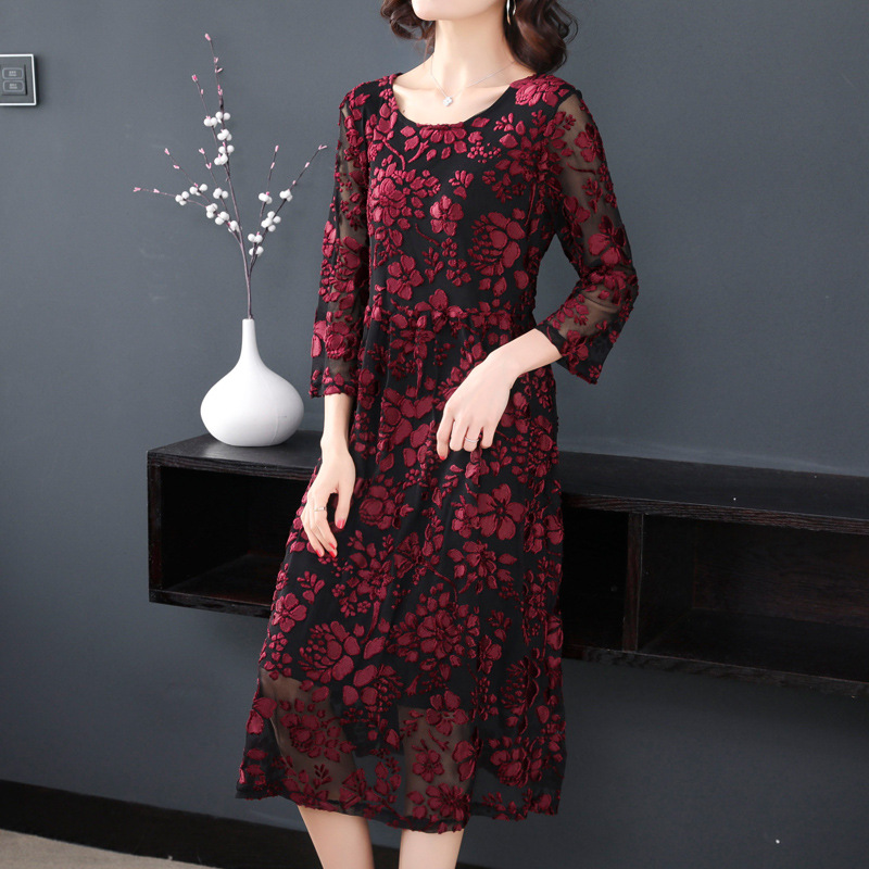 2019 New Style WOMEN'S Dress Spring Clothing Festive Fat Mm Western Style Lace Base Large Size France Non-mainstream Kuotaitai D