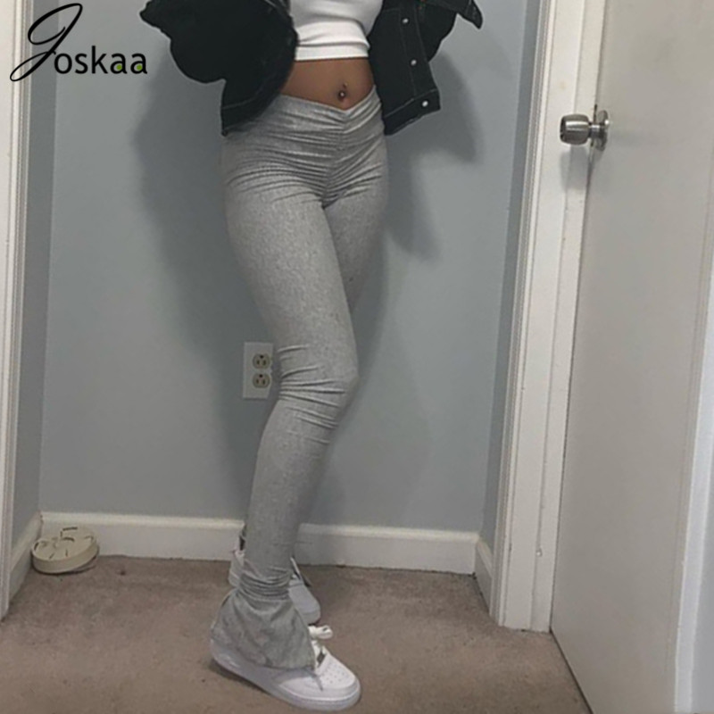Joskaa Sexy Ruched High Wasited Slit Flare Pants Solid Bandage Club Women Clothes 2020 Summer Solid Stretch Casual Long Trousers
