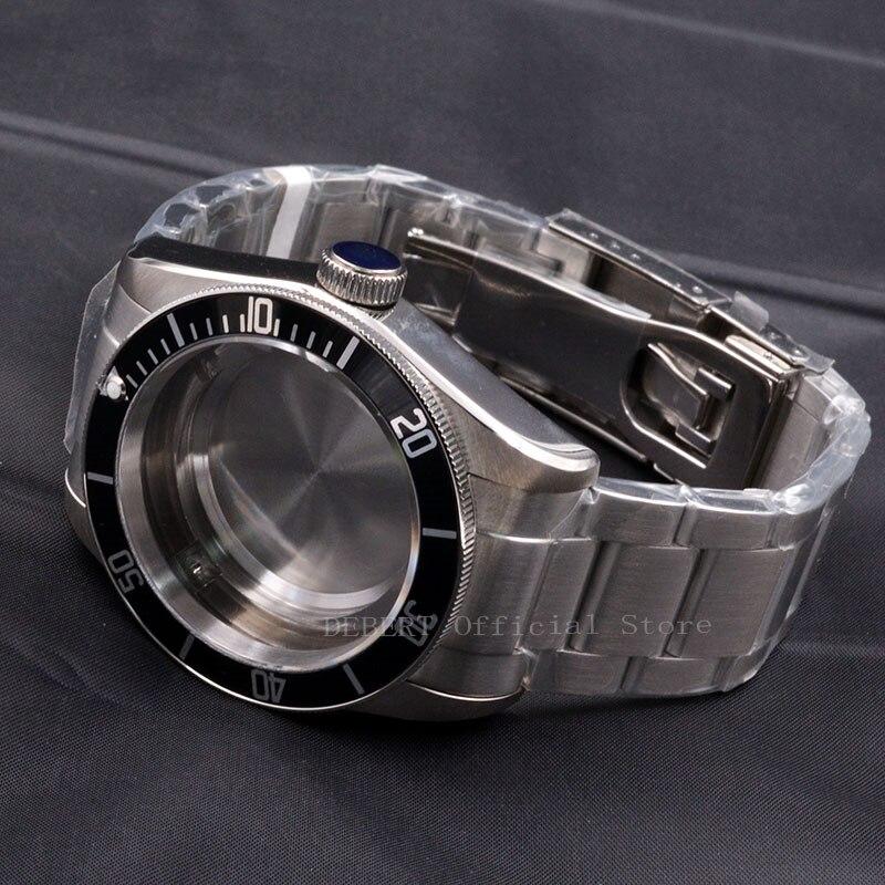Watch Parts 41mm Black Bezel Watches Case 22mm Band Brass Coated 316L S Steel Belt  Fit ETA 2836/2824 Miyota8215 821A Movement