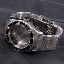 Watch Parts 41mm black Bezel Watches Case 22mm band Brass Coated 316L S Steel belt  Fit ETA 2836/2824 Miyota8215 821A movement цена и фото