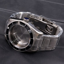Watch Parts 41mm black Bezel Watches Case 22mm band Brass Coated 316L S Steel belt Fit ETA 2836/2824 Miyota8215 821A movement(China)