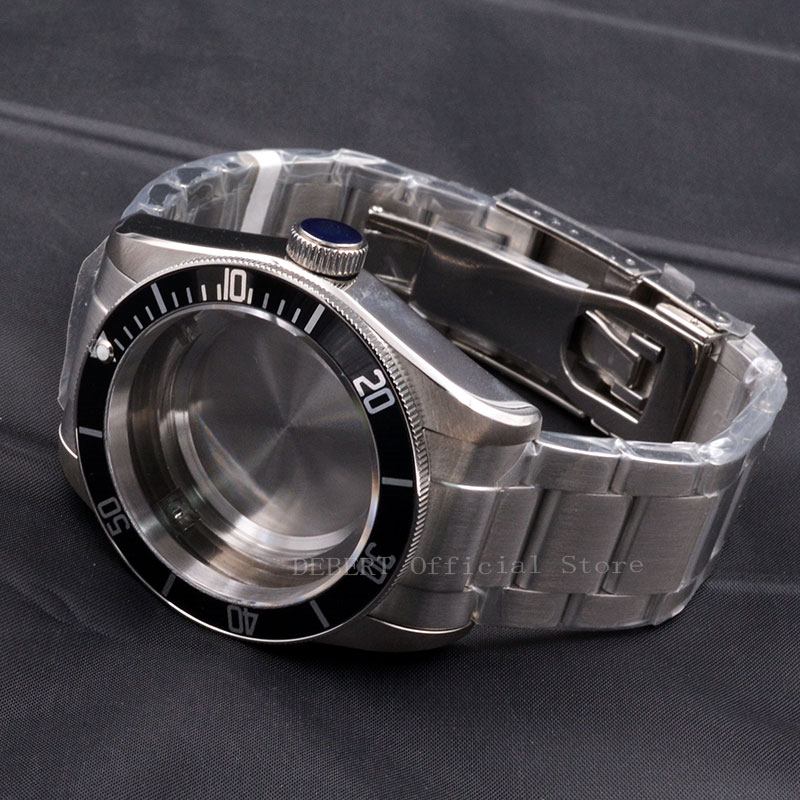 Watch Case 41mm Black Bezel Watches Parts 22mm Band Brass Coated 316L S Steel Belt  Fit ETA 2836/2824 Miyota8215 821A Movement