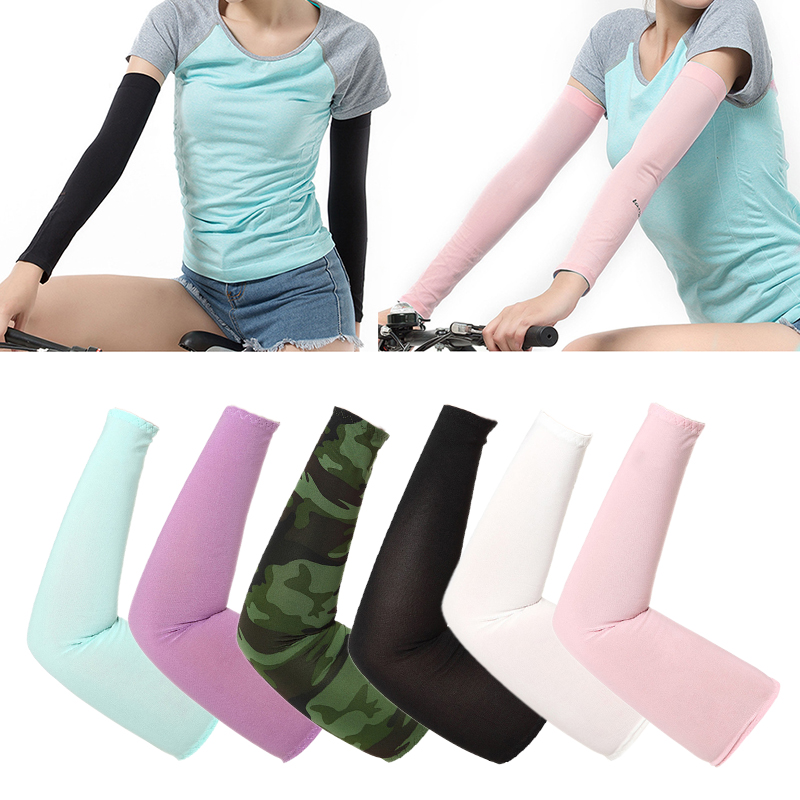 1Pair Men Women Arm Solid Sleeves Warmer Cotton Fingerless Gloves Cuff Sun Hand Protect Anti-UV Running Golf Cycling Arm Sleeve