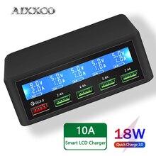 AIXXCO USB Sạc Nhanh 40W 5 Cổng Màn Hình Hiển Thị Đèn LED Sạc Nhanh Quick Charge 3.0 Sạc Cực Nhanh Để Bàn Đế Sạc iPhone X 8 7 6 iPad